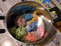Dye t-shirts with leftover egg dye