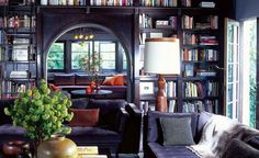 The library from Roman and William's first residential project for Ben Stiller | Remodelista