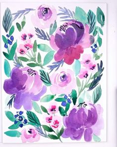 All-Over Watercolor Peony pattern in Purple   #PaintingForBeginners - YouTube