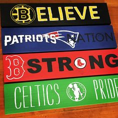 Boston Bruins, New England Patriots, Boston Red Sox, Boston Celtics, sports wood signs. Bar or man cave decor.
