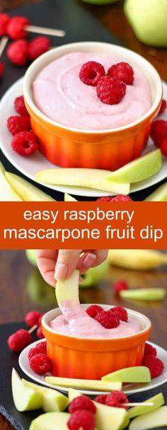 Easy Raspberry Mascarpone Fruit Dip {A Quick Sweet Snack} raspberry/ mascarpone/ dip Easy raspberry mascarpone fruit dip. You only need 4 ingredients; 5 minutes to make this easy raspberry dip! Great for parties, picnics or gatherings! via @tastesoflizzyt