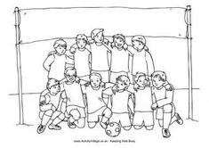 This boys soccer team colouring page has a banner at the back for you to add your own team's name or make one up. You can also colour the boys to match your favourite team strip, your own team's kit, or just make up a good one! Baseball Coloring Pages, Sports Coloring Pages, Boy Coloring, Pokemon Coloring Pages, Coloring Pages For Girls, Disney Coloring Pages, Coloring Pages To Print, Free Coloring Pages, Coloring For Kids