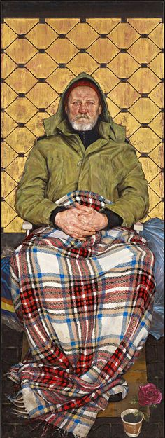 Man with a Plaid Blanket by Thomas Ganter / BP portrait award shortlist for 2014. See at Sunderland Museum and Winter Gardens (4 October - 16 November 2014)