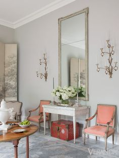 """I grew up with gracious entertaining,"" says Randolph, whose drawing room is designed for gatherings. Louis XV chairs, Marston Luce Antiques. Console and sconces, Niermann Weeks. - Veranda.com"