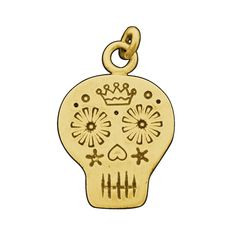 Gold Day of the Dead Sugar Skull Charm