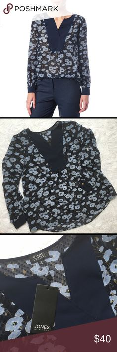 Jones New York Romantic Dot Top/Blouse/Shirt NEW Jones New York women's size S. A Touch of romance with its pretty floral print on sheer Swiss dot fabric with full Poet Sleeves. Hi Lo hem. NEW WITH TAGS. Excellent condition. No flaws.                                                                  📦📦Fast Shipping. I strive to have same day or next day shipping. Jones New York Tops Blouses