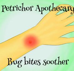 Bug bites soother  Tea tree oil and lavender oil will soothe those bug bites!  Essential oils are diluted in grapeseed oil and placed in an amber bottle with a restrictor.  To use, place finger over bottle and then apply soother solution to bug bite. @Petrichor Apothecary