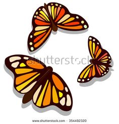 beautiful butterflies saturated color. Top view game sprite. Vector game design for app