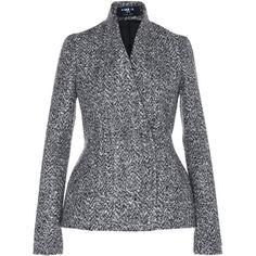 Paule Ka Tweed Peplum Jacket (1,805 CAD) ❤ liked on Polyvore featuring outerwear, jackets, blazer, black, tweed jacket, long sleeve jacket, paule ka, high neck jacket and peplum jacket