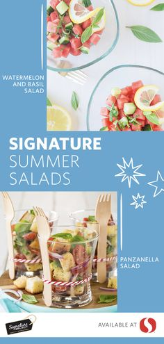 It's time to step up your summer salad! These two salad recipes are both refreshing and DELICIOUS and, oh yeah, perfect for summer entertaining! Featuring watermelon, cucumber, basil and a pinch of cayenne pepper, this Watermelon & Basil Salad is sure to be a hit. Also starring cucumber, this Panzanella Salad is complete with tomatoes, bell peppers and cheese and may just become your new favorite.