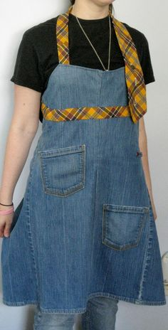 Recycled Denim Jeans AND Men's tie = Interesting apron. Might play with this idea