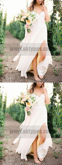 Casual Spaghetti Straps V Neck Side Slit Simple Beach Wedding Dresses, TYP0800