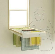 """Blindry"" Doubles as Window Blind and Laundry Rack ~ I want these in my house!"