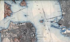 1915 Map of San Francisco Bay San Francisco Map, Places In California, San Fransisco, Old Maps, Historical Maps, Cartography, Map Art, Best Memories, Home Art