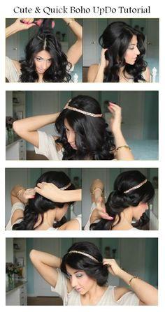 Make Cute & Quick Boho UpDo   hairstyles tutorial