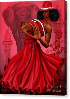 Red and White Divine Diva by Dion Pollard inches - Open Edition) Delta Art, Delta Sigma Theta Gifts, Happy Founders Day, Sorority And Fraternity, Aka Sorority, Black Artwork, African American Women, Fine Art America, Red And White