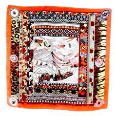 Carré de soie foulard roange fusain 85 x 85 cm - Foulard soie carré - Mes Echarpes