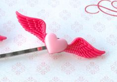 Heart With Wings, Heart Hair Clip, Pink Heart, Valentine's Day Hair Clip, Valentine Accessories