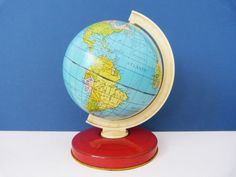 1960's  Chad valley metal toy globe by planetutopia on Etsy