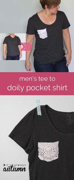 DIY Doily : DIY men's tee to doily pocket shirt