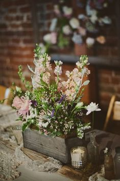 10 Trending Spring Wedding Ideas: Skip the vases for your wedding centerpieces and use flower boxes for your wedding flower arrangements. Barn Wedding Centerpieces, Wildflower Centerpieces, Wedding Bouquets, Wedding Decorations, Chalkboard Centerpieces, Table Decorations, Flower Box Centerpiece, Succulent Centerpieces, Wedding Inspiration