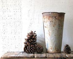 vintage sap bucket - farmhouse decor or display