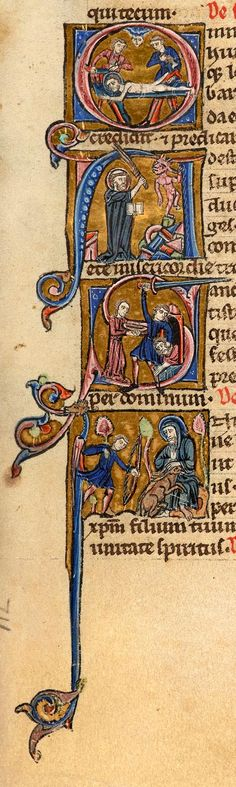 Apostle Bartholomew: Martyrdom in initial O | Augustine of Hippo: refuting Heretic in initial A | John Baptist: Beheading in initial S | Giles of Provence: shielding Doe in initial I | Book of Hours | France, Paris | between 1230 and 1239 | The Morgan Library & Museum