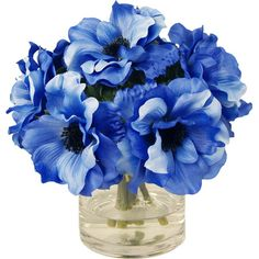 Add a lush touch to your entryway console table or living room mantel with this faux anemone arrangement, nestled in a glass vase. Purple Peonies, Blue Roses, Bright Flowers, Faux Flowers, Rose Pictures, Vase Arrangements, Flower Market, Joss And Main, Floral Bouquets