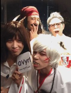 SHINee members: Jonghyun as Sesshomaru, Minho as Captain Jack Sparrow, Taemin as Howl, and Onew as Colonel Sanders. Key was Ronald McRonald, click picture to see him and other SM artists in Halloween Costumes!