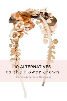 10 Alternatives to the Flower Crown | Martha Stewart Weddings - We'll always be fans of a flower crown, but it's not your only option if you are looking to dress up your wedding hairstyle. Whether you want to go for an edgy look with a big, dramatic headband or just add some sparkle with a few hair pins, the options are vast. The best part? All of these wedding hair accessories can be worn long after the wedding! Keep reading to shop our favorites.