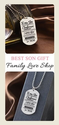 To My Son Adventure On Your Journey Love Mom Dog Tag Necklace Birthday Anniversary Graduation Gift