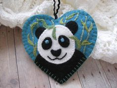 Definitely must attempt DIY.... Peaceful Panda Ornament by SandhraLee on Etsy, $18.00