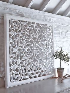 Large Carved Wall Panel - Design 1 WL- a beautiful piece of art for your… Wooden Wall Panels, Wooden Wall Decor, Wood Panel Walls, Wooden Walls, Wall Panel Design, Carved Wood Wall Art, Room Decor, Home, White Wood