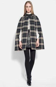 [Saint Laurent, Hooded Tartan Wool Cape]