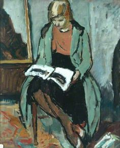 Girl Reading (verso) by Philip Naviasky      Date painted: c.1930     Oil on board, 61 x 50.8 cm     Collection: Pannett Art Gallery BBC Your Paintings
