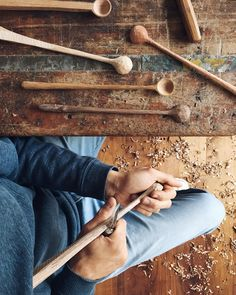 """""""I'm making some long stems today. These are probably my favourite styles to carve, and finished form wise.  This morning I showed a picture of the stage…"""""""
