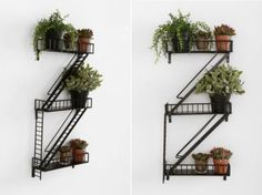 Fire Escape Wall Shelf (http://blog.hgtv.com/design/2013/09/04/daily-delight-fire-escape-wall-shelf/?soc=pinterest)