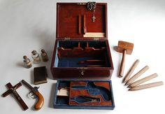 """""""Victorian Vampire Hunting Kit"""" From an exhibit by the British Library called, 'Terror and Wonder: The Gothic Imagination' from Victorian Vampire, Victorian Era, Victorian Decor, Real Vampires, Museum Curator, Horror Fiction, Horror Films, British Library, British Literature"""