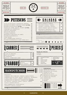 fun typography in restaurant menu — Designspiration