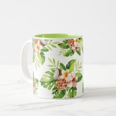 Tropical Watercolor Floral Two-Tone Coffee Mug - typography gifts unique custom diy Tropical Leaves, Tropical Flowers, Tea Mugs, Coffee Mugs, Pineapple Coconut, Animal Skulls, Our Lady, Mug Designs, Watercolor Flowers