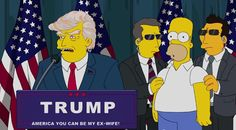 The Simpsons are cashing in on the recent political scandals involving Donald Trump, who allegedly used paid supporters during his presidential announcement speech. Homer Simpson agrees to participate because he's indifferent about the next president. The bald man becomes enthralled by Trump's toupee. #funny #cartoons #tv  http://l7world.com/2015/07/simpsons-vote-donald-trump-for-president.html
