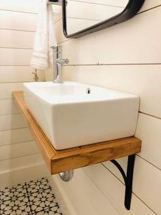 #BathroomDecorSets Space Saving Bathroom, Cabin Bathrooms, Wall Mounted Bathroom Sinks, Small Sink, Small Bathroom Vanities, Tiny Bathrooms, Bathroom Ideas, Bathroom Organization, Small Bathroom Designs