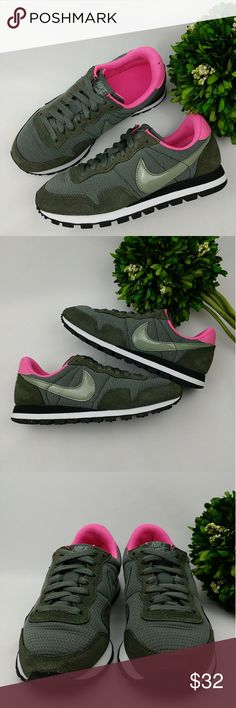 Nike Women's Air Pegasus '83 Nike Women's Air Pegasus '83   .Leather rubber sole Pink/grey/army green/white and black colors In good condition. Have been washed and sanitized. There is a small hole on the right shoe and its shoe lace plastic piece came off (pictured) Size 6 23 cm Nike Shoes Sneakers