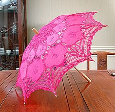 Pretty Hot Pink Parasol--need to get for Katie www. Color Magenta, Fuchsia, Color Rosa, Pink Purple, Hot Pink, Bright Pink, Pink Umbrella, Under My Umbrella, Vintage Umbrella