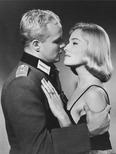 "Marlon Brando and May Britt in ""The Young Lions"", 1958 Marlon Brando, Classic Hollywood, Old Hollywood, Hollywood Actresses, Actors & Actresses, Lions Photos, Actress Christina, Anita Ekberg, Gene Kelly"
