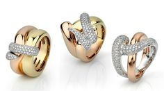 Facet Barcelona Woven Pave collection rings in rose, white, and yellow gold @facetbarcelona