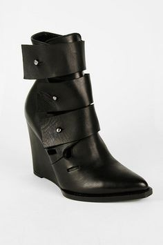 Surface to Air Prima Triple Strap Wedge Bootie in Black $247 at www.tobi.com