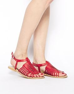 Enlarge ASOS FIDGET Leather Flat Sandals