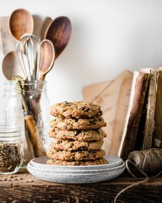 Sunflower Seed Cookies are chewy oatmeal cookies packed full of sunflower butter, sunflowers seeds, pumpkin seeds, dried cherries and dark chocolate chips. Granola Cookies, Oatmeal Cookies, Tea Cakes, Mini Chocolate Chips, Chocolate Chip Cookies, Best Cookie Recipes, Baking Recipes, Shortbread, Biscotti
