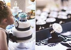 Breakfast at Tiffany's Birthday Party - cake and faux diamond party favors